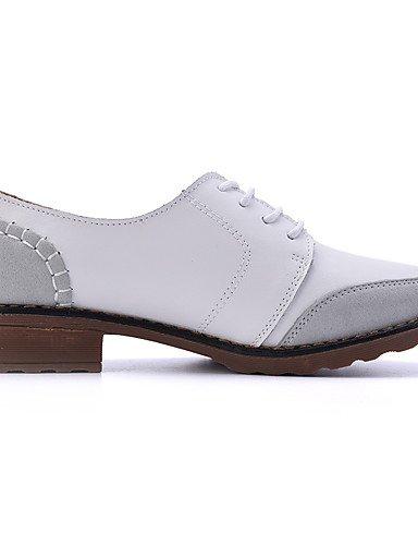 Jaune Uk3 Daim us5 Yellow richelieu Blanc confort Njx noir Cn35 5 Chaussures Femme décontracté 5 Plat Eu36 talon cuir a4IPq