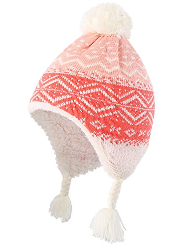 (Connectyle Toddler Girls Sherpa Lined Beanie Cap with Earflap Winter Hats L Pink)