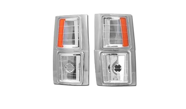 HS Power Chrome Clear Corner Lights 1994-2000 for GMC C10 C//K Pickup//SUV Signal Parking Lamps K2