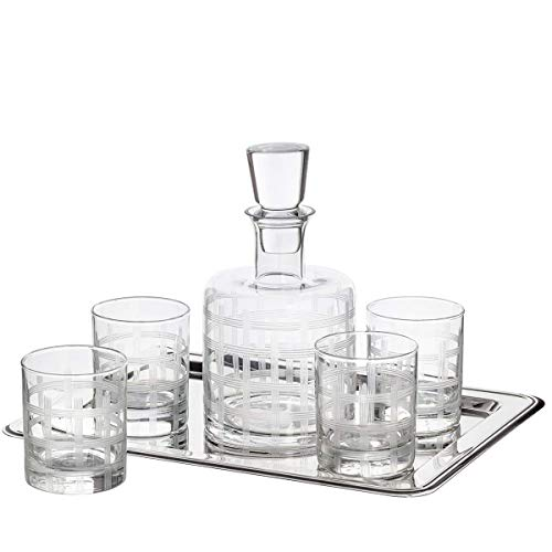 Trinkware Frosted Whiskey Bar Decanter with 4 Glasses for Whiskey Wine Liquor Scotch Set of 5 Pieces