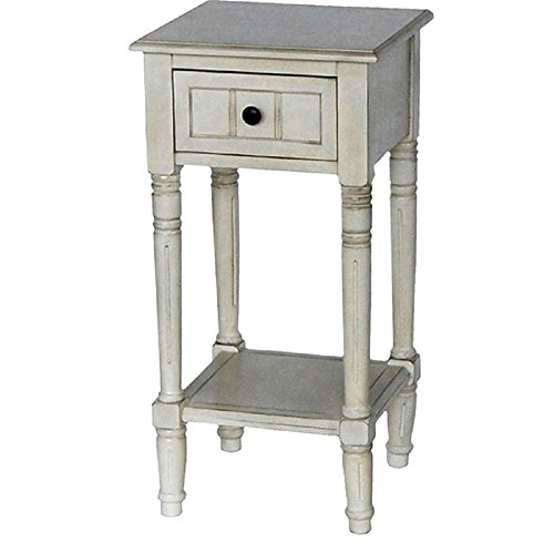 Antique White Vintage Shabby Chic Inspired Simplify One Drawer Square Accent Table, Dimensions 14x14x28 (Jimco Table Lamp)