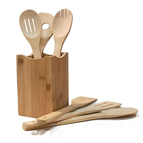 Comllen Premium Organic Wooden Bamboo Kitchen Utensil Set, 6 Piece Set Bamboo Spoons and Spatulas Cooking Utensils with Bamboo Holder Square