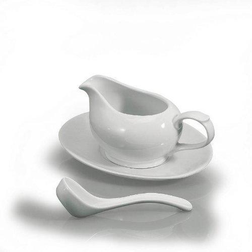 BIA White Porcelain 3 Piece Gravy Boat Set - 16 oz
