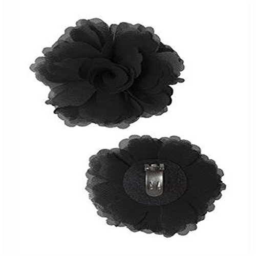 Douqu High Heel Chiffon Ribbon Rose Flower Fashion Sandals Shoe Clips Charms Decoration Pair ()