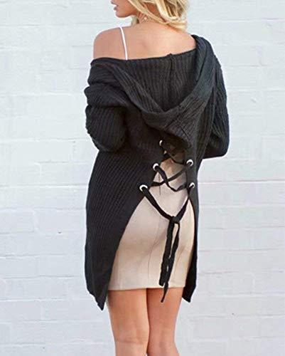 Casual Moda Sciolto Autunno Con Mode Fashion Cappotto Tasche Schwarz Outwear A Lunghe Di Maglia Maniche Donne Pullover Invernali Eleganti Incappucciato Lacci Marca Giacca Alla 8O6xqTw