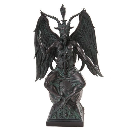 Large Baphomet On Pedestal in Faux Stone Finish Statue by Pacfic Trading