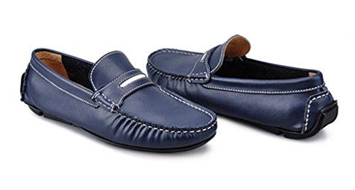 Crc Heren Warm Aanbevolen Ronde Neus Klassiek Leer Drijvende Bootschoenen Blauw