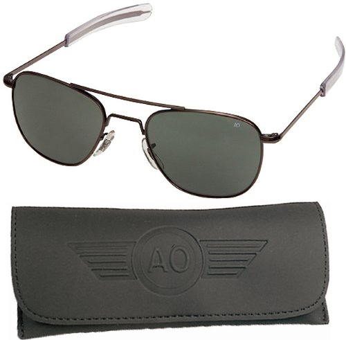 AO Flight Gear General Sunglasses, Comfort Cable, Black Frame, Brown Glass Lens, Polarized, 52mm, by AO