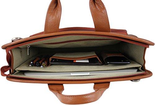 Zavelio Hombres Henrik piel auténtica de lujo del negocio maletín bolso bandolera negro negro talla única canela