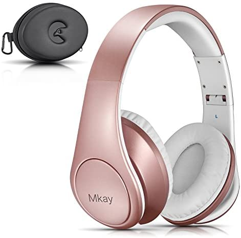 Bluetooth Headphones Over Ear, Mkay Wireless Stereo Headset with Deep Bass, Foldable Lightweight, Perfect for Cell Phone TV PC and Travelling Rose Gold