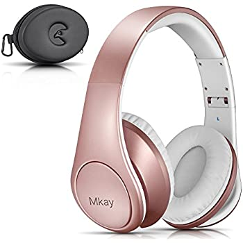 Bluetooth Headphones Over Ear, Mkay Wireless Stereo Headset with Deep Bass, Foldable & Lightweight, Perfect for Cell Phone/ TV/ PC and Travelling (Rose Gold)