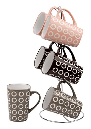 Wee's Beyond 11 oz 6 Square Mugs Set with Stand, Brown/Black/Pink