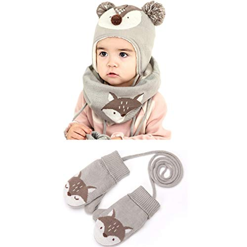 - Winter Children Warm Hat Scarf Glove 3Pcs Set
