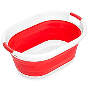 Best Choice Products Collapsible Large Plastic Laundry Basket Storage Container - Red