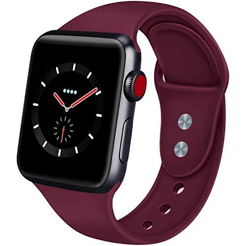 [해외]AIGENIU 호환 Apple Watch 밴드, 2 개의 잠금 실리콘 연약한 스포츠 애플 시계 밴드, SM ML를 선택할 수 있습니다 Apple Watch Series 4321 (42mm44mm SM 와인 레드) / AIGENIU Compatible Apple Watch Band, 2-piece Silicone Soft Sport Apple Wat...