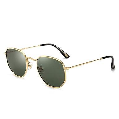 301bd7d72ea9 CaponiUV Small Square Polarized Sunglasses for Men and Women Polygon  Mirrored Lens (green)