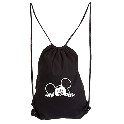 Mickey Mouse Peeking Eco-Friendly Reusable Drawstring Bag 6 oz. Cotton Canvas Gym Bag Backpack Sack Pack for Shopping Sport -