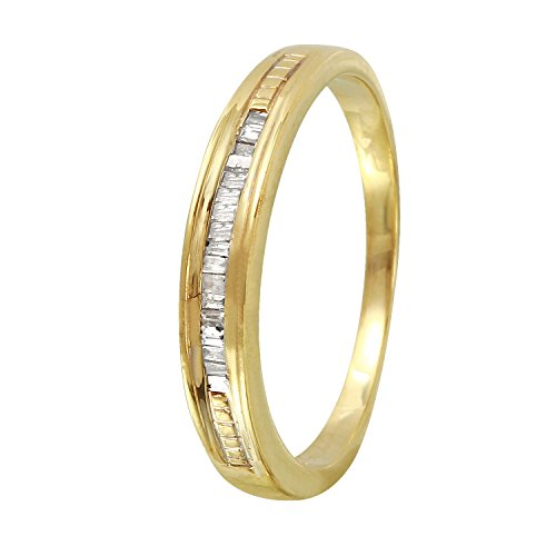 0.12 Carat Natural Diamond 10K Yellow Gold Wedding Band for Women Size 7 - 0.12 Ct Natural