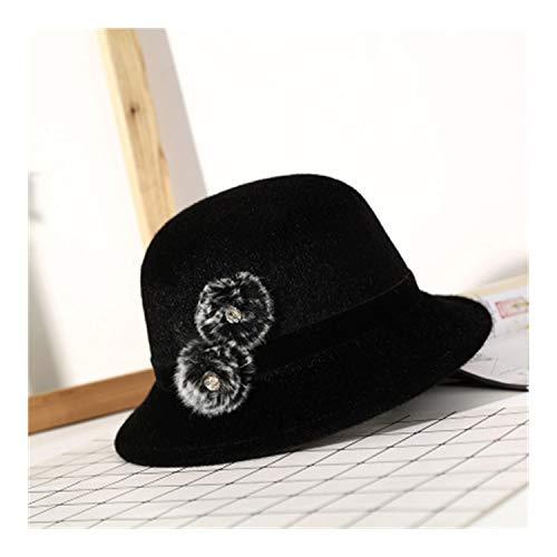 Felted Wool Hat Patterns - Sweet Vintage Felted Imitation Wool Hat Floppy Spring Winter Hat for Women Chap Black