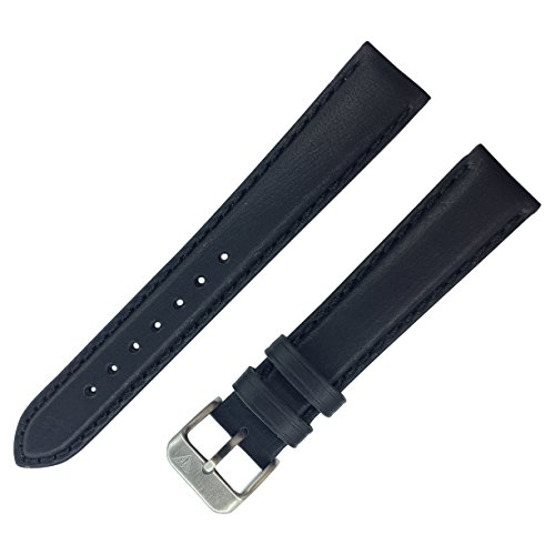 Dakota 19679 Genuine Leather, Soft Padded Watch Band, Black (18mm, 20mm, 22mm, 24mm, 26mm) (18mm) Black Padded Leather Band