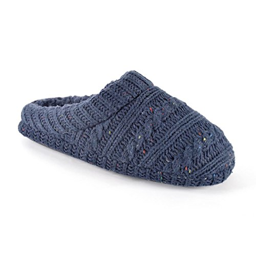 SlumberzzZ Mens Navy Blue Flecked Knitted Mule Slippers GPPpGhbe