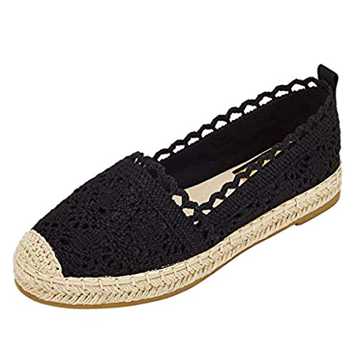 Sunyastor Espadrille Sneakers for Women Hollow Canvas Casual Lace Flats Classic Loafers Slip-On Comfortable Shoes Black