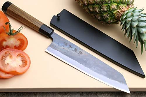Yoshihiro Mizu Yaki Blue High Carbon Steel Super Kurouchi Kiritsuke Multipurpose Chef Knife (8.25 In) with Nuri Saya Cover by Yoshihiro (Image #1)