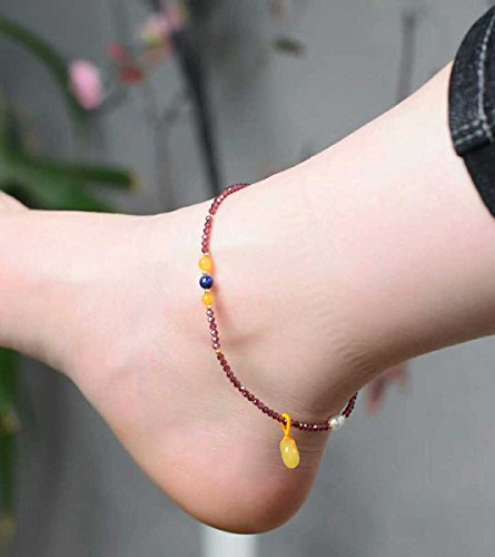 - TKHNE About 2mm with natural garnet Foot Chain anklet faceted beads lapis lazuli pearl beeswax beeswax peace buckle