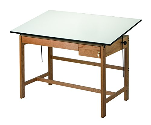 Alvin WLB72 Titan II Solid Oak White Top Drafting Table 2 Drawers (37.5