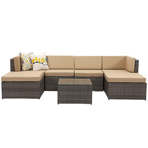 Wisteria Lane 7 Piece Outdoor Furniture Sets, Patio Sectional Sofa Couch All Weather Wicker Rattan Conversation Set with Ottoma Glass Table Grey Wicker, Beige Cushions