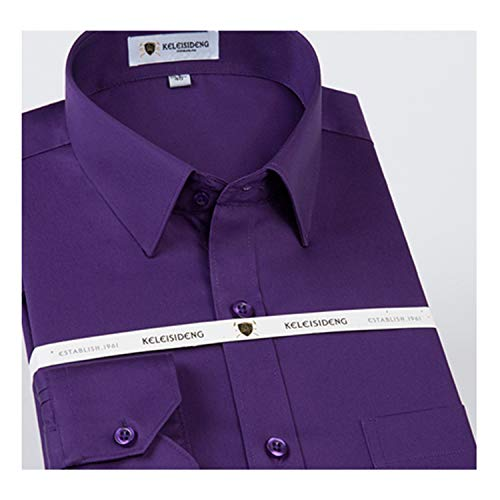 Slim Fit Solid Basic Dress Shirt Patch Left Chest Pocket Premium 100% Cotton Office Shirts Purple XXXL