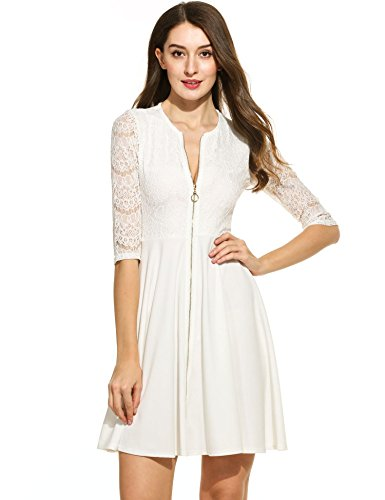 Zeagoo Women's Casual Floral Lace Dress Zipper Front Bodycon Dress Plus Size White_XXL (Zipper Front Pleated Dress)