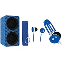 NAXA Electronics NAS-3061A Portable Bluetooth Stereo Speaker Entertainment Pack with Headphones, Earphones and Battery Pack, Blue