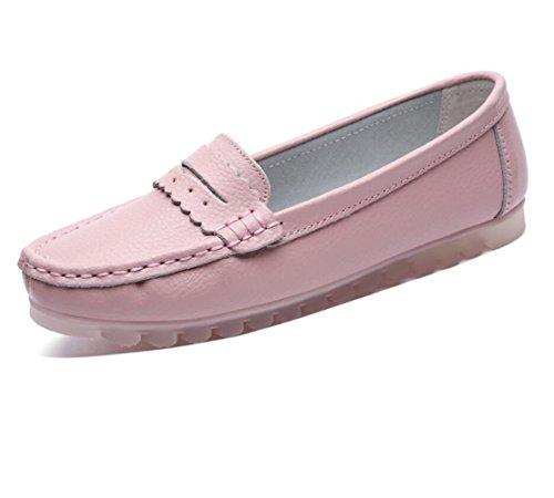 Koyi Zapatos De Mujer Para La Primavera Y Verano Zapatos Planos Nuevos Zapatos De Cuero Ocasionales Antideslizantes Pink