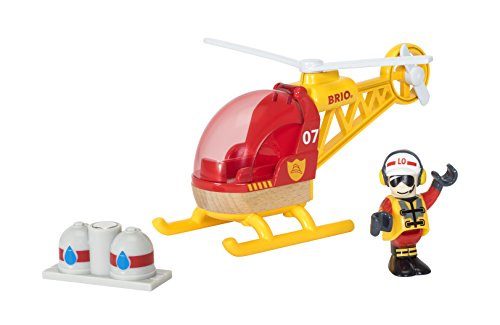 BRIO World - 33797 Firefighter Helicopter | 3 Piece Helicopter Toy for Kids Ages 3 and Up (World Best Fighter Helicopter)