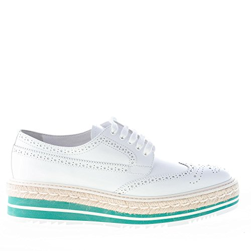 Brushed White Brogue Prada Leather with Shoes Wedge 1E722E Women White Derby Micro OxqOwEtCX