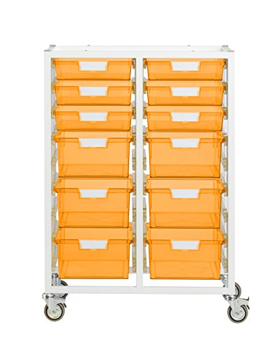 StorSystemUSA CE2102WFO 12 Tray Swift Tower Crystal 'Slim Line' Metal Cart, Neon Orange by StorSystemUSA