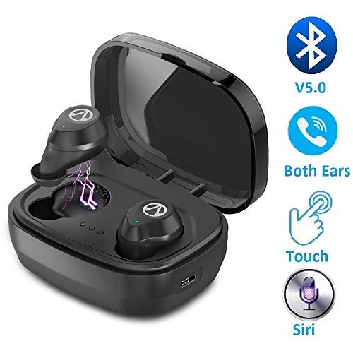 True Wireless Earbuds Bluetooth 5.0 Headphones Waterproof Touch Control in Ear TWS Earphone Noise Cancelling Handsfree Headset with Microphone Compatible with Apple iPhone Samsung Phone (Black)