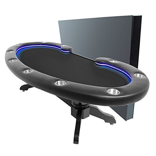 BBO Poker Lumen HD Lighted Poker Table for 10 Players with Black Speed Cloth Playing Surface, 101.5 x 46-Inch Oval, Includes Matching Dining Top