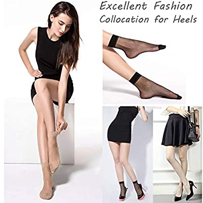 Women Sheer Socks, 10 Pairs Ankle High Soft Crystal Silky Hosiery Office(Black 10 Pairs) at Women's Clothing store
