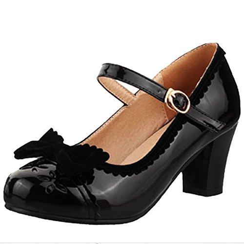 Lindo Zapatos Zapatos Retro Mujer Baja Boca Bombas COOLCEPT con Negro Janes Tacon Mary Bowknot Medio Zapatos wxSXqIxa