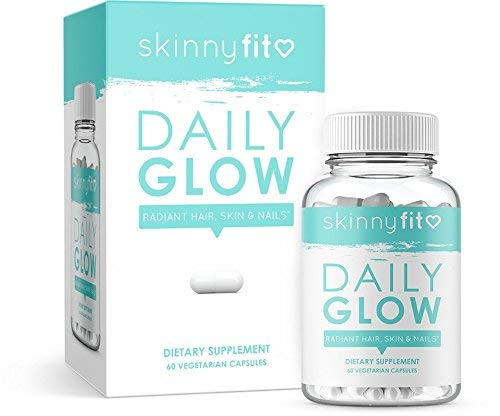 SkinnyFit Daily Glow: Hair, Skin and Nails Supplement for Radiant Skin, Stronger Hair and Nails with Biotin, Vitamins A, C and B (60 Count Vegetarian Capsules)