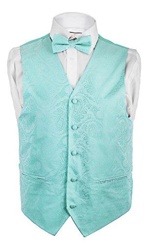 Men's Dress Vest Paisley Design 4pc Set Vest / Tie / Hanky / Bow Tie/ Multi Colors (XLarge, Mint Green)