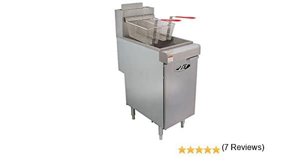 JET JFF3-40N Freidora de gas de acero inoxidable para uso comercial, resistente, 90000 BTU por hora, temperatura ajustable para restaurante, hotel, bar, cocina, NSF, aprobación con drenaje, 3 tubos de 40 libras,