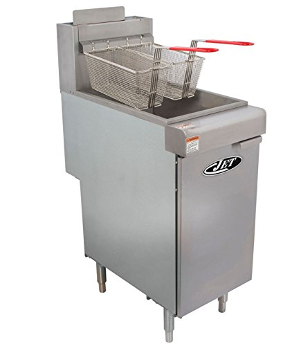 JET JFF3-40N Stainless Steel Commercial Heavy Duty Floor Gas Deep Fryer 90000 BTU Per Hour Adjustable Temperature for Restaurant Hotel Bar Kitchen NSF Approval With Drain, 40 Pound 3 Tube, Metallic