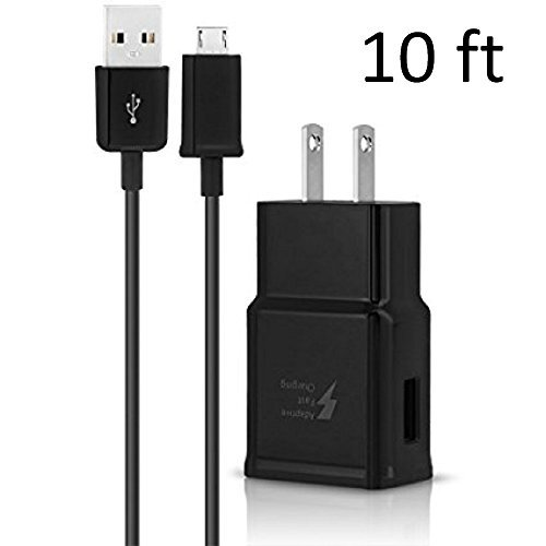 - New OEM Samsung Fast Adaptive Wall Adapter Charger for Galaxy S7 S6 Note 5 4 Edge EP-TA20JBE + 10 Foot Micro USB Cable - Black