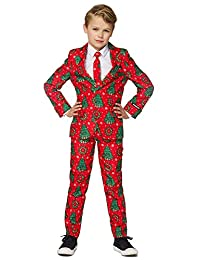 Suitmeister Christmas Suits for Boys - Includes Jacket, Pants & Tie