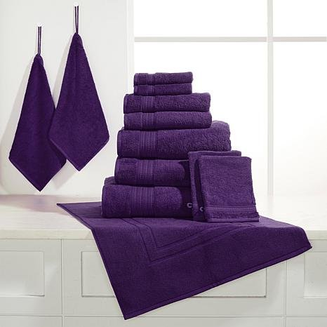 JOY 12-piece Plush True Perfection Bleach/Cosmetic-Resistant Towels - Violet Ingenious Designs