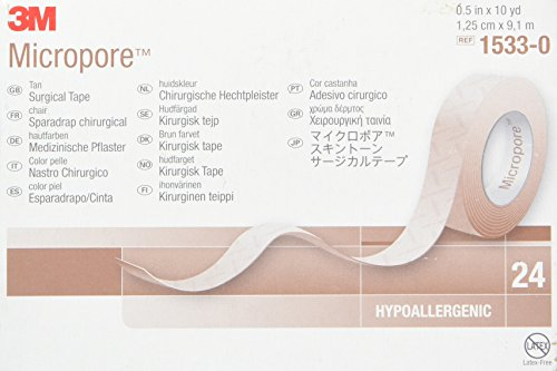 "3M Micropore Paper Tape - 1/2"" x 10 yds Tan - - Box of 24"