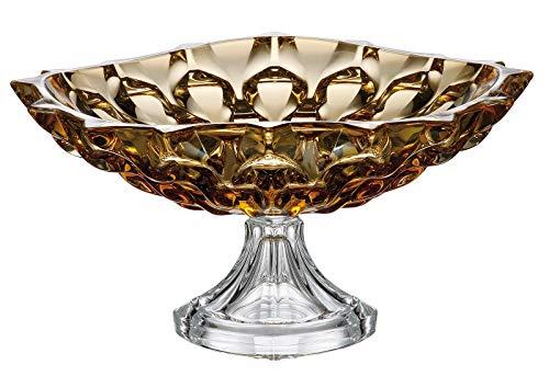 Czech Bohemian Crystal Glass Footed Shallow Bowl 13''-Dia Amber-Yellow Decorative Gift Elegant ''Samba'' Design Gorgeous Centerpiece Classic Crystal Glass ()